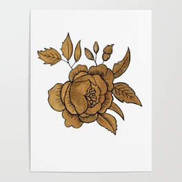 Rose in Gold Poster