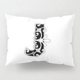 Letter J Elegant Scroll Initial Pillow Sham