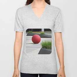 Round and Red Unisex V-Neck
