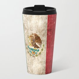 Vintage Aged and Scratched Mexican Flag Travel Mug