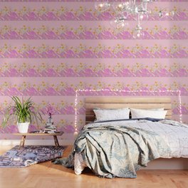 GOLDEN BUTTERFLIES IN PINK LACE GARDEN Wallpaper