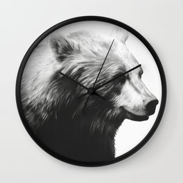 Bear // Calm (Black + White) Wall Clock