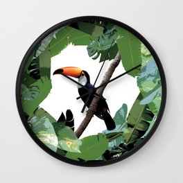 Toucan and leaves Wall Clock