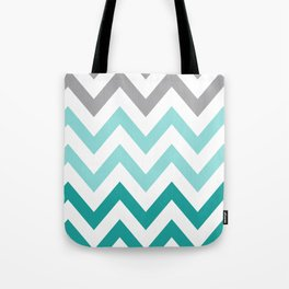 TEAL FADE CHEVRON Tote Bag