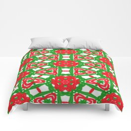 Red, Green and White Kaleidoscope 3372 Comforters
