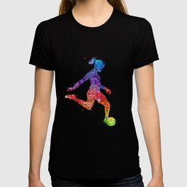 Girl Soccer Player Watercolor Art Colorful Sports Gift T-shirt