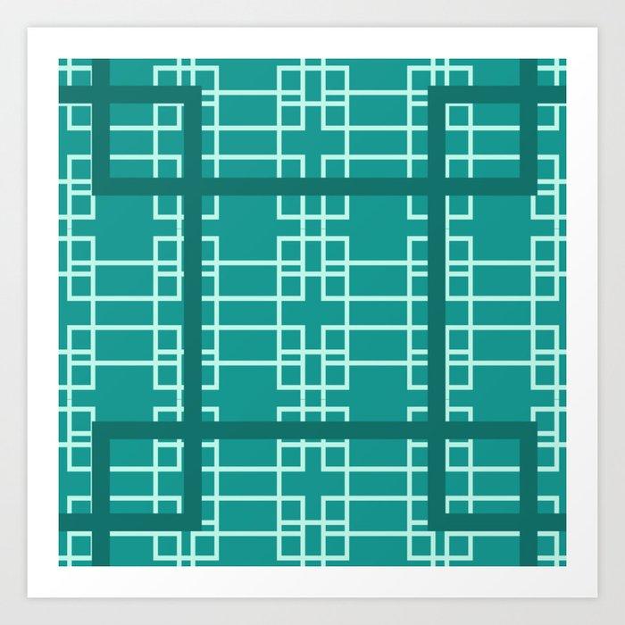 Midcentury Modern Geometric Turquoise Kunstdrucke