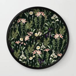 Dark Botanical Garden #society6 #natureart #pattern Wall Clock