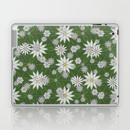 White Flowers on Green Background Pattern Laptop & iPad Skin