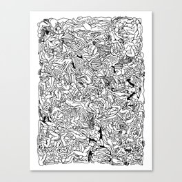 Lots of Bodies Doodle in Black and White Canvas Print