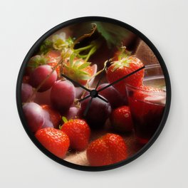 Fresh strawbeerie and Grapes to fall in love with Wall Clock