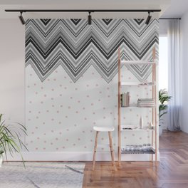 Geometrical black blush pink polka dots chevron Wall Mural