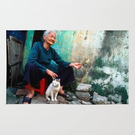 Old Woman with Cat - VIETNAM - Asia Rug