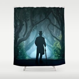 Morning visit in cold Dark Hedges Shower Curtain