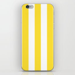 Banana yellow - solid color - white vertical lines pattern iPhone Skin