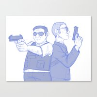 hot fuzz Canvas Prints featuring hot fuzz by Marie Mikolay