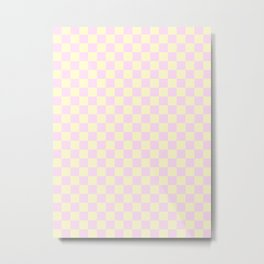 Cream Yellow and Pink Lace Checkerboard Metal Print