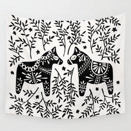Swedish Dala Horses – Black Palette Wall Tapestry