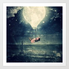 Moon Reverie over Paris Art Print