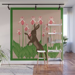 Hare + Lady Slippers Wall Mural