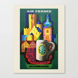 Air France. Vintage travel advertising poster to promote travel to Germany. Jacques Nathan-Garamond 1955 Canvas Print