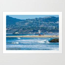 Rare view of Santa Monica, Pier & Pacific Palisades from Venice Pier Art Print