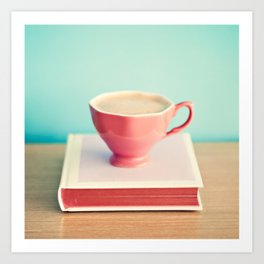 Pink cup of coffee and pink book Art Print