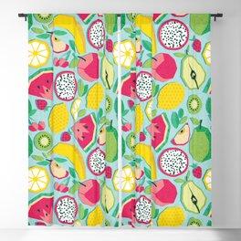 Paper cut geo fruits // aqua background multicoloured geometric fruits Blackout Curtain