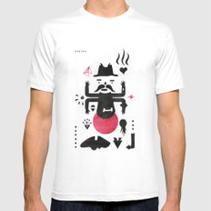 Black and red MEDIUM White Mens Fitted Tee