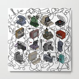 Retro Electronics Metal Print