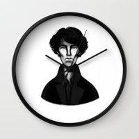 sherlock Wall Clocks featuring Sherlock by Blanca Limón
