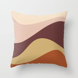 Abstract Color Waves - Warm Vintage Throw Pillow
