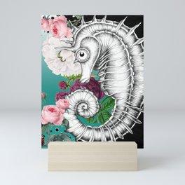 Seahorse Ink Roses Vintage Aqua Chic Mini Art Print