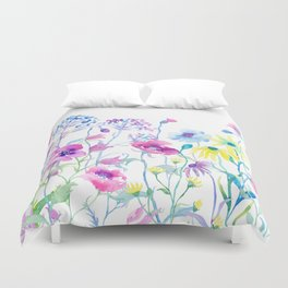 Watercolor Field of Pastel Duvet Cover