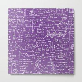 Physics Equations on Purple Metal Print