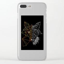 Geometric Fox, Black version Clear iPhone Case