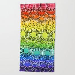 Rainbow Doodle Beach Towel