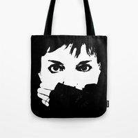 helen Tote Bags featuring Helen Stickland - DESIGN by Paul Stickland for StrangeStore