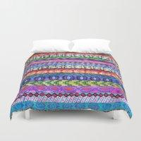 peru Duvet Covers featuring Peru Stripe II by Schatzi Brown