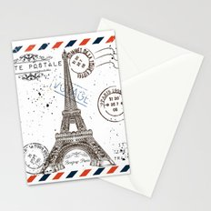 Art hand drawn design with Eifel tower. Old postcard style Stationery Cards