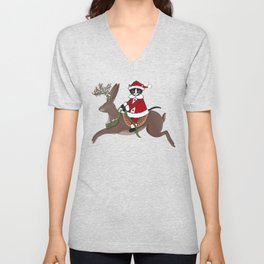 Santa Claws and Jackalope 2 Unisex V-Neck