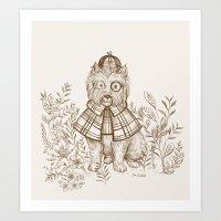 westie Art Prints featuring Portrait-Westie by Pim-Pimlada Studio