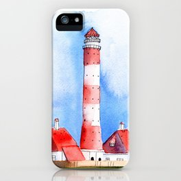 Lighthouse Watercolor Painting iPhone Case