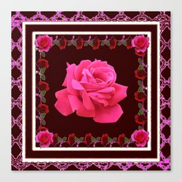 FUCHSIA PINK ROSE & BURGUNDY FLORAL PATTERNED ART Canvas Print