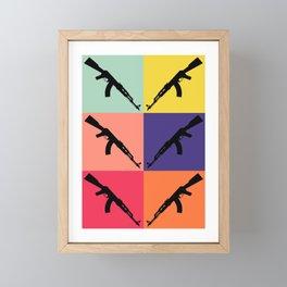 Retro Pop Art AK-47 Rifle 2nd Amendment Gun Gift Gun Rights Framed Mini Art Print