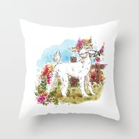 poodle Throw Pillows featuring Poodle by Renee Kurilla