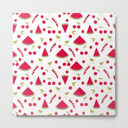 Seamless pattern watermelon cherry raspberry currant background Metal Print