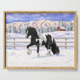 Black & White Pinto Gypsy Vanner Draft Horse In Snow Serving Tray