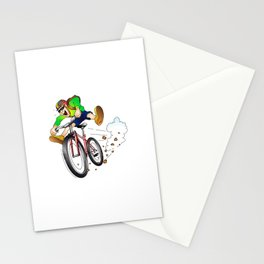 Mountain biker racing down the slope Stationery Cards