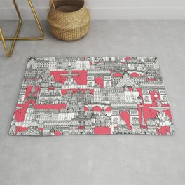 Paris toile strawberry pink Rug